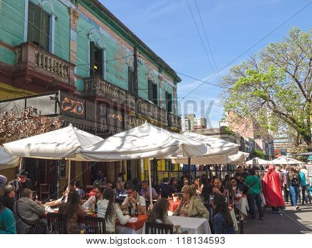 Buenos Aires Argentina - 18th October 2015: View of famous street Caminito.