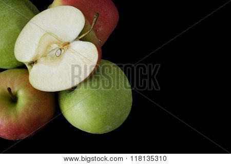 Fresh Green And Pink Apples On Black Background, Closeup, Copy Space