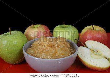 Handmade Apple Jam And Fresh Apples On Black Background