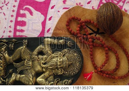 Indian Spiritual Art - Ganesha Elephant, Prayer Beards From Rudraksha