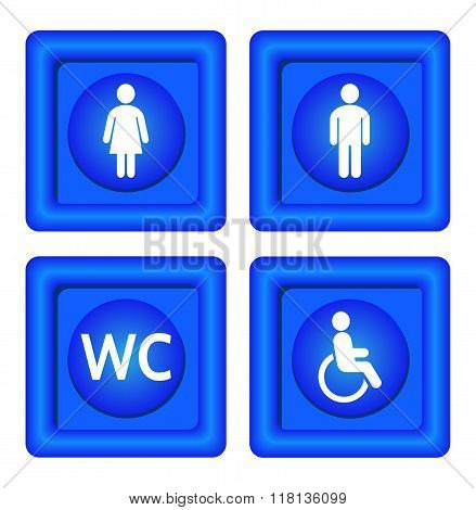 Blue toilet signs.