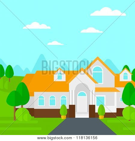 Background of house with beautiful landscape and driveway.