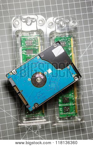 2,5 Hdd Hard Disk Drive On Two Ram Random-access Memory S
