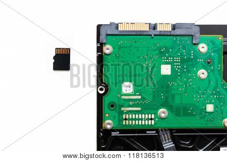 Micro Sd (secure Digital) Card Next To Hdd Hard Disk Drive