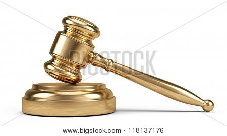 Law concept - Golden judge gavel isolated on white