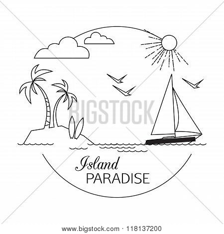 Island Paradise. Beach and water travel and tourism outline background. Minimalistic linear travel v