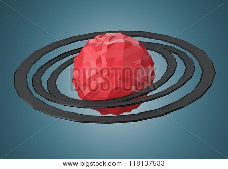 Abstract Polygonal Planet With Rings