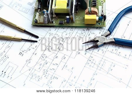 Printed Circuit Board And Tools.