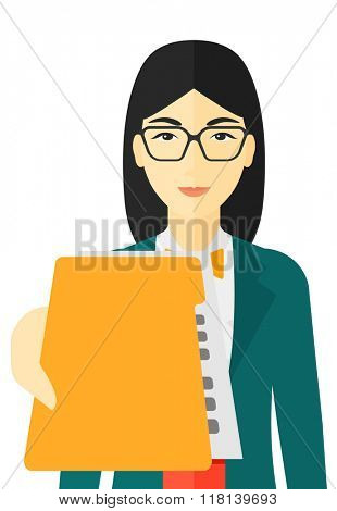 Boss receiving file from employee.