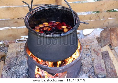 Big Pot To Cook The Tasty Mulled Wine In The Country Festival