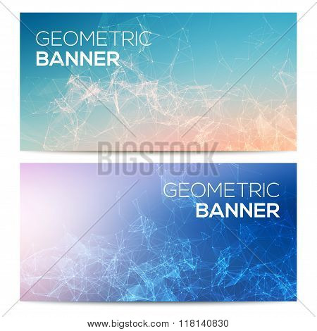 Vector horizontal banners set with polygonal abstract shapes, with circles, lines, triangles. Polygo