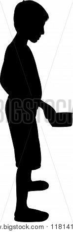 beggar boy body black color silhouette vector