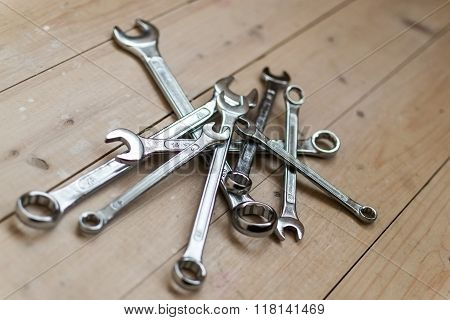Pile Of Diy Silver Metal Spanners