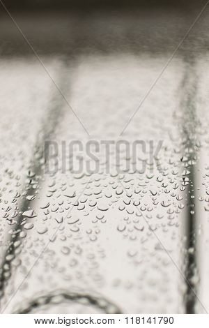 Condensation On A Grey Window