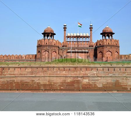 The Walls & Towers Of The Red Fort, Dehli, India