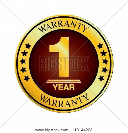 Warranty Logo Design. One Year Warranty Design Isolated On White Background.