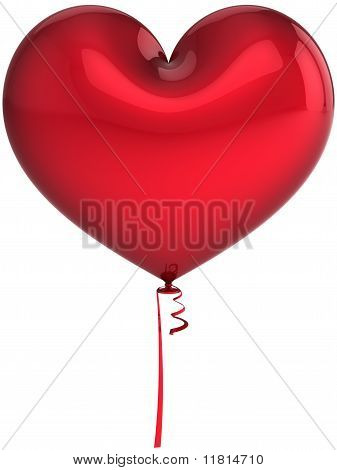 Red party balloon as heart shape