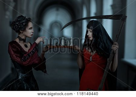 Gothic Woman Playing With Death.