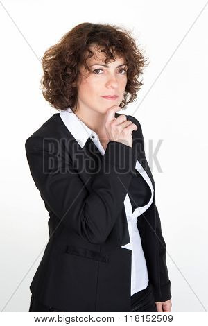 Portrait Of Young Anxious Businesswoman In Suit Looking Sideways, Isolated On White Background