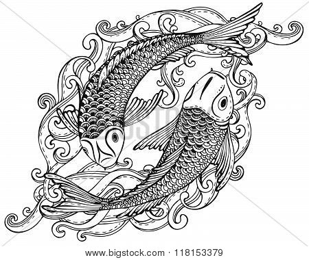 Hand Drawn Vector Illustration Of Two Koi Fishes (japanese Carp)