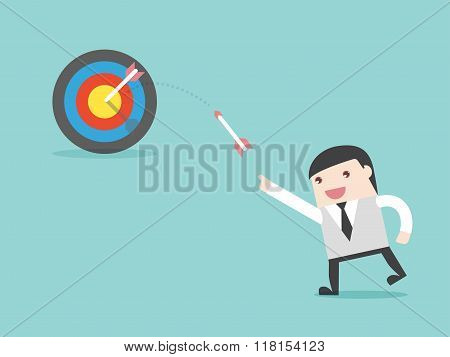 Businessman Throw Arrow To Target