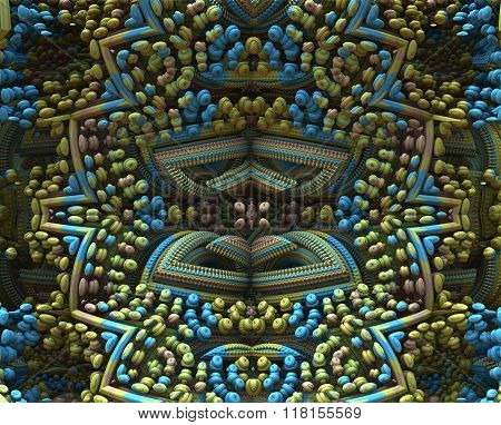 3D Fractal Ornament In Muted Colors