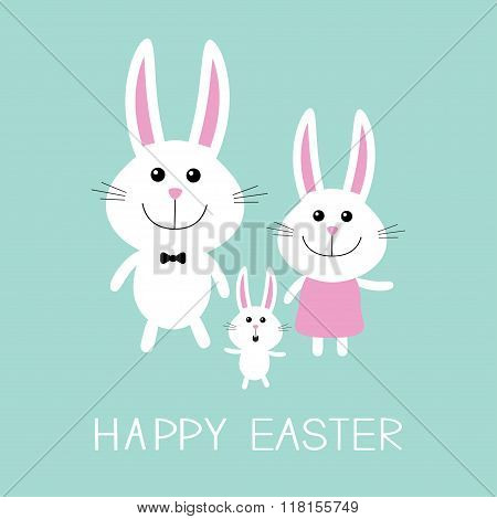 Happy Easter. Bunny Rabbit Family.father, Mother And Baby Boy. Flat Design.