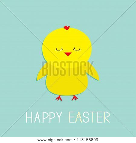 Easter Sleeping Chicken. Baby Background. Flat Design.