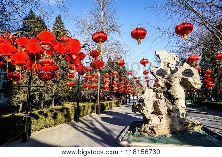 Historic Traditional Botanic Garden of Beijing, China in winter, during Chinese New Year