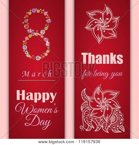 Set Of Vector Greeting Cards Or Banners For 8 March. Happy Women's Day
