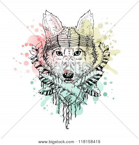Black and white wild animal wolf head, abstract art, tattoo, doodle cketch.