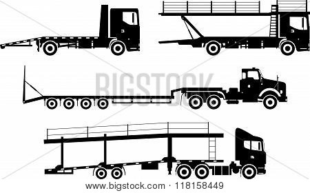 Set of different silhouettes auto transporters isolated on white background in flat style. Vector il