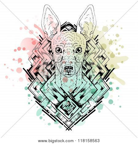 Black and white animal Dog head, abstract art, tattoo, doodle cketch. Watercolor background.