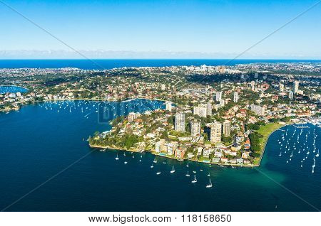 Aerial view Double bay Sydney Australia. View on Sydney harbourside suburbs from above. Aerial view on Sydney harbourside Rushcutters bay Double bay Darling point Point piper Darling point wharf Blackburn cove