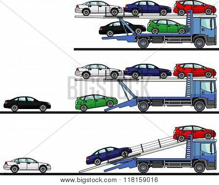 Set of auto transporters isolated on white background in flat style in different positions. Vector i