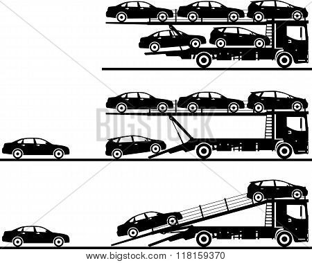 Set of silhouettes auto transporters isolated on white background in flat style in different positio