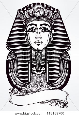 Vintage vector pharaoh with place for your text.