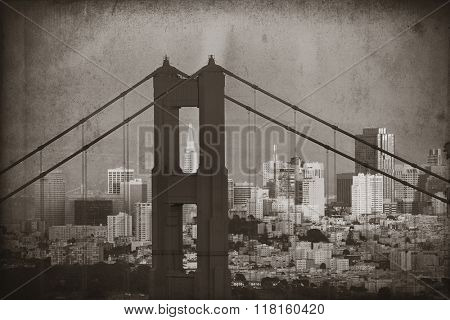 Golden Gate Bridge closeup with San Francisco downtown in black and white