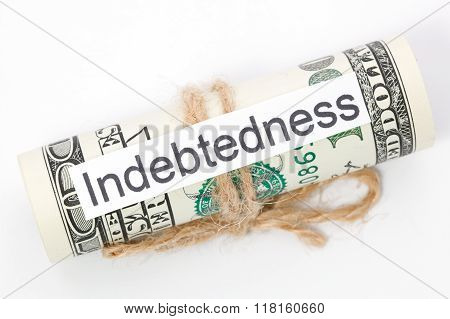 Money And Business Idea, The Dollar Bills Tied With A Rope, With A Sign - Indebtedness