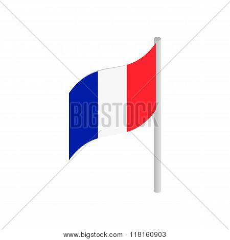 Flag of France with flag pole waving in the wind