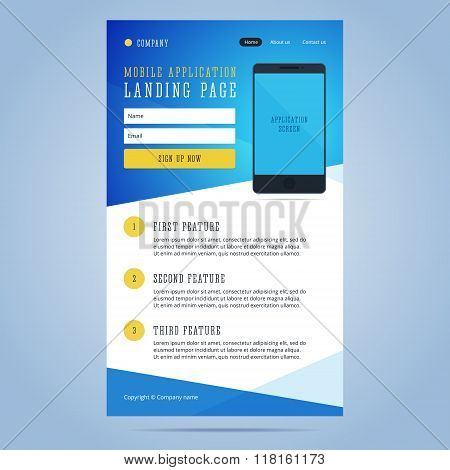 Landing page for mobile application promotion.