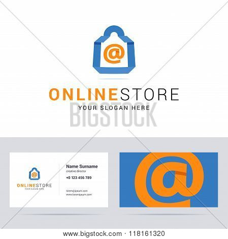 Logo and business card template for online shop, online store.