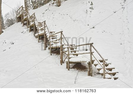 Snow-covered Tourist Stairs Woods