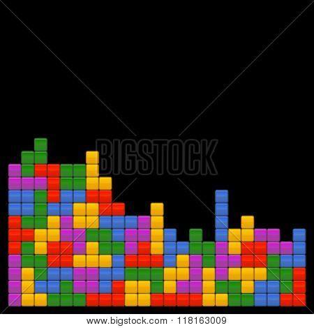 Game Brick Tetris Template on Black Background. Vector.