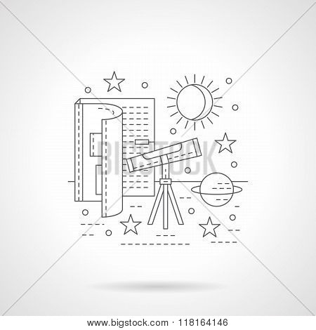 Astronomy lessons detail line vector icon
