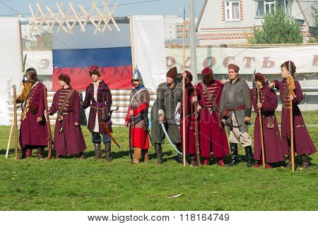 Reenactors in 18th century russian army uniform