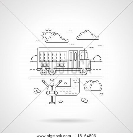 School bus detail line vector icon