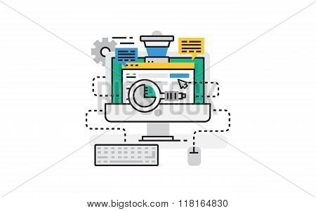 Flat line design vector illustration concept of Digital marketing, Online marketing, Social marketin