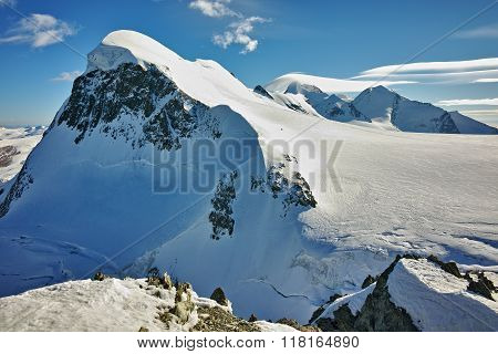 Landscape of swiss Alps and mount Breithorn, Canton of Valais, Switzerland