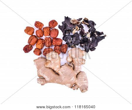 Chinese Herbal Soup Dried Ingredients. Mature Ginger, Ear Mushroom, Chinese Jujubes. Isolated On Whi
